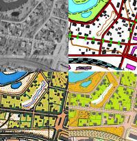 Karttapaikan kartan ja ilmakuvien sekä suunnistuskartan ja sprinttisuunnistuskartan vertailua
