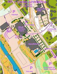 SM-sprintin 2008 kilpailukeskuskartta ja H21-rata tällä alueella